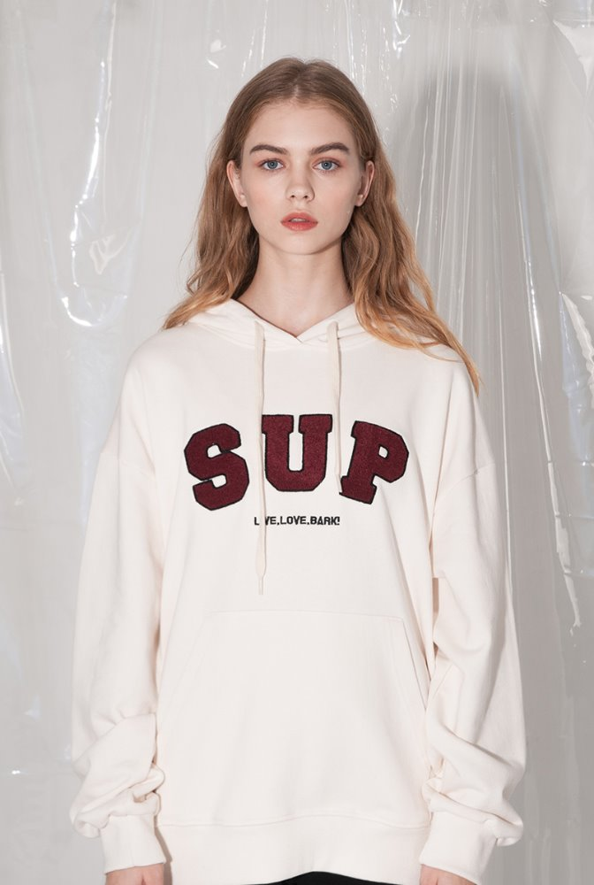 'SUP' 부클패치 hoodie 크림